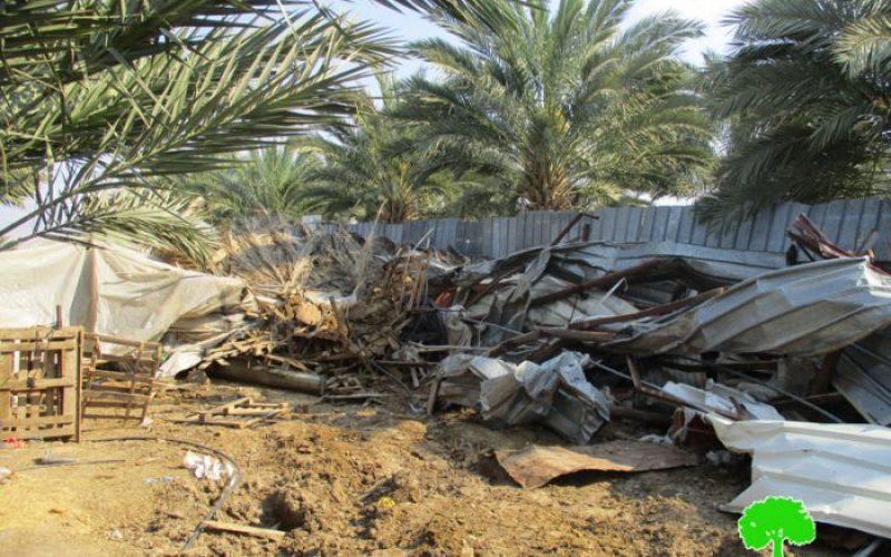 هدم بركسات زراعية في قرية الزبيدات شمال مدينة أريحا