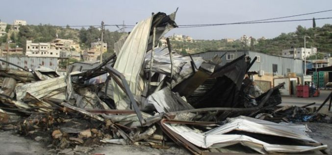 Israeli Occupation Forces set fire to Beita Vegetable Market