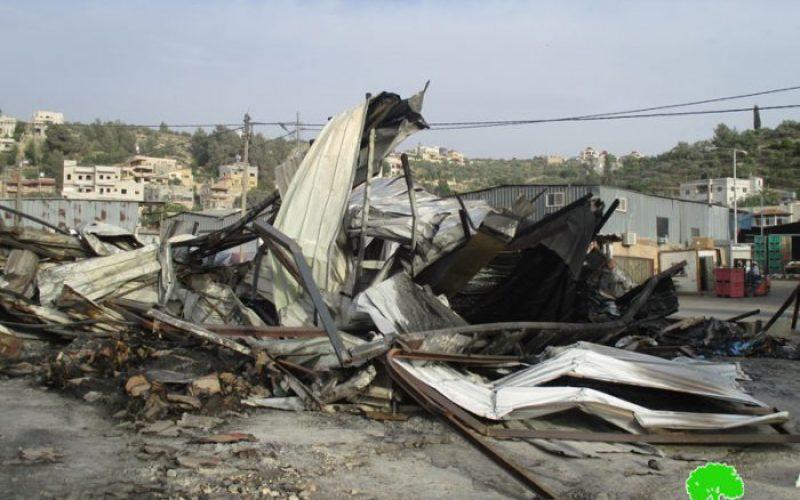 Israeli Occupation Forces set fire to Beita Vegetable Market