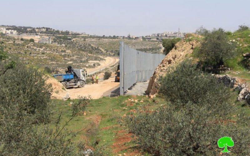 الاحتلال يحكم السيطرة على أراضي واد كريمزان ببناء الجدار العنصري / محافظة بيت لحم