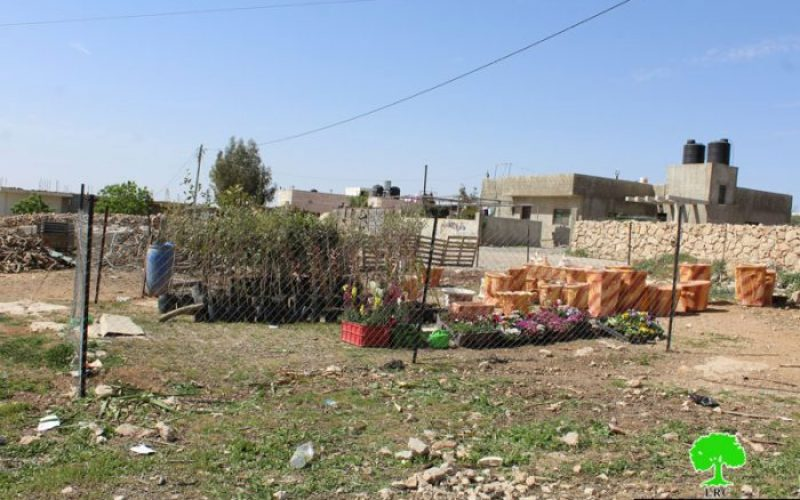 Israeli Occupation Forces confiscate barrack and seedling from Yatta town