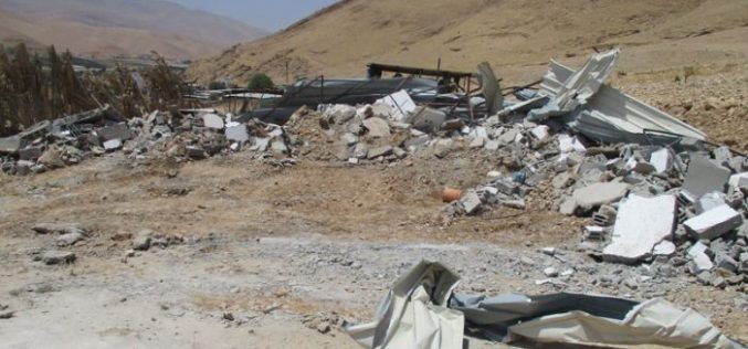 Israeli Occupation Forces demolish structures in village Jericho of Al-Jiftlik