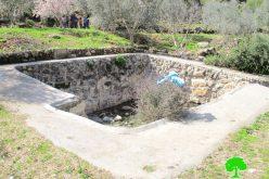 """مستعمرو مستعمرة """" رفافا"""" يردمون بئر للمياه شمال مدينة ديرستيا"""