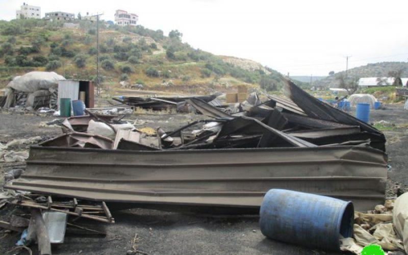 هدم عدد من منشآت إنتاج الفحم في بلدة يعبد