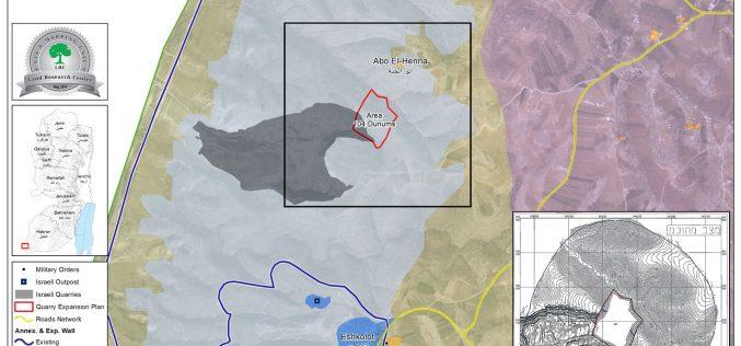 """مخطط احتلالي لتوسعة كسارة """" بيت حاجاي"""" جنوب الخليل"""