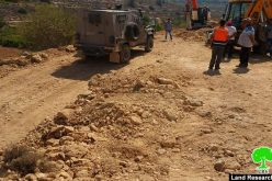 الاحتلال يوقف العمل في شق طريق زراعي في واد الشامي- بلدة الخضر/ محافظة بيت لحم