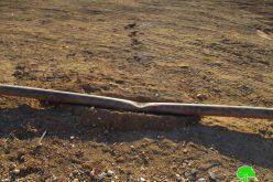 هدم طريق زراعي وتدمير خط لنقل المياه في منطقة سهل البقيعة / محافظة طوباس