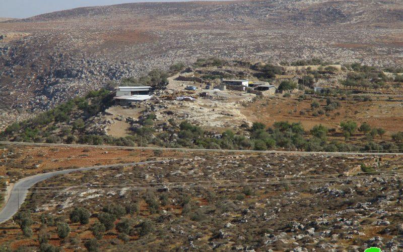 إخطار بوقف البناء للخط المائي الناقل في خربة أم المراجم جنوب قرية دوما / محافظة نابلس