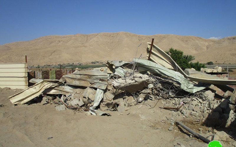 هدم ثلاثة مساكن وغرفة زراعية في منطقة الأغوار الوسطى بمحافظة أريحا
