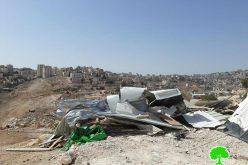 الإدارة المدنية العسكرية تهدم 4 مساكن في تجمع بدوي جبل البابا في العيزرية