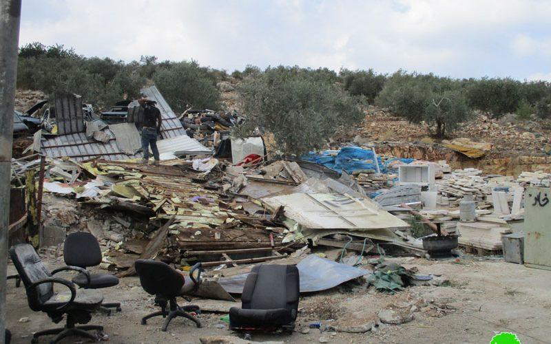 هدم عدد من الورش التجارية في قرية برطعة بمحافظة جنين