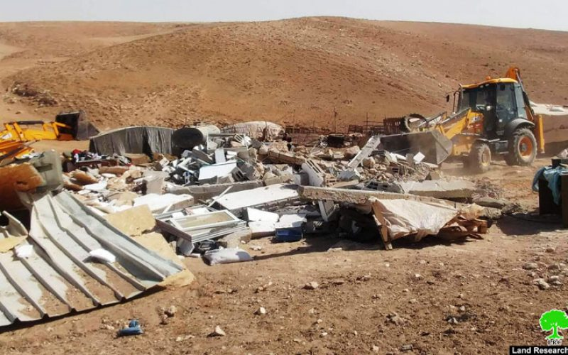 Israeli Occupation Forces demolish a residence in the Masafer Yatta hamlet of Al-Halawah