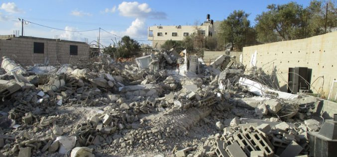 Israeli Occupation Forces demolish a residence and notify another of stop-work in Ramallah