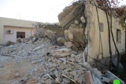 هدم منزل عائلة الأسير محمد زيد ابو الرب من بلدة قباطية / محافظة جنين