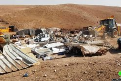 Israeli Occupation Forces demolish a residence in the Masafer Yatta hamlet of Al-Halawah
