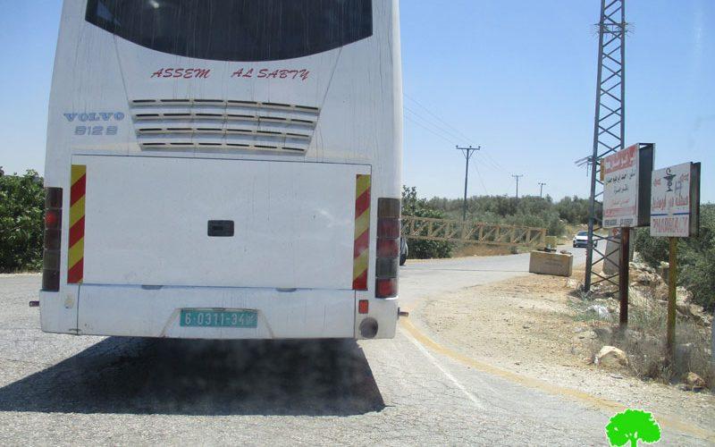 The Israeli Occupation Forces close the entrance of Deir Abu Mish'al village via metal gate