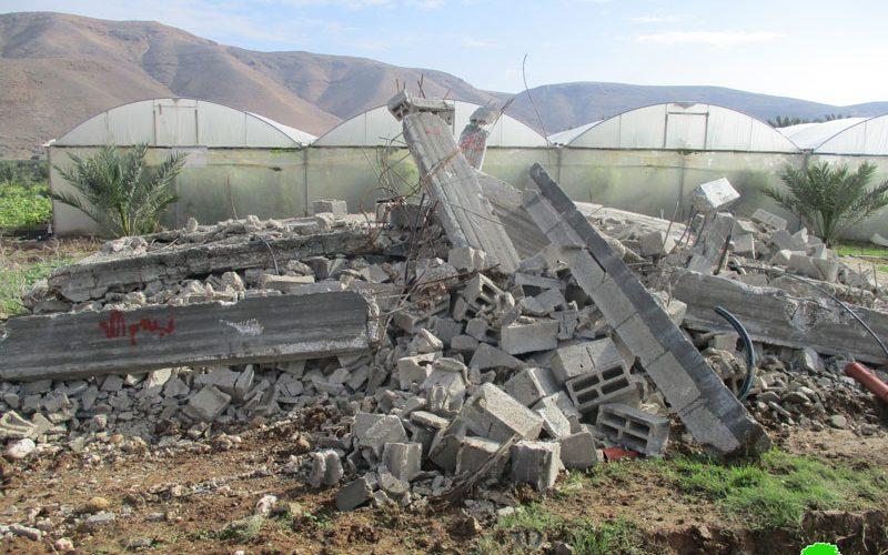 هدم منزل سكني قيد الإنشاء في قرية الجفتلك  محافظة أريحا