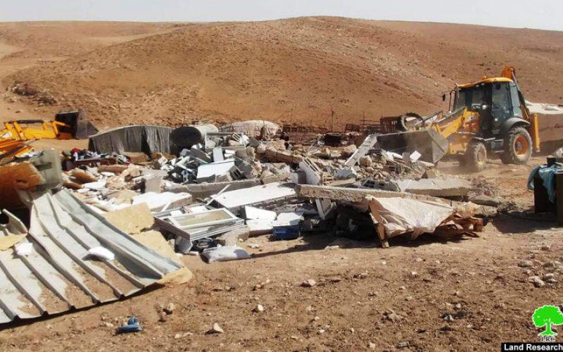 Israeli Occupation Forces demolish two residence in the Masafer Yatta hamlet of Al-Halawah