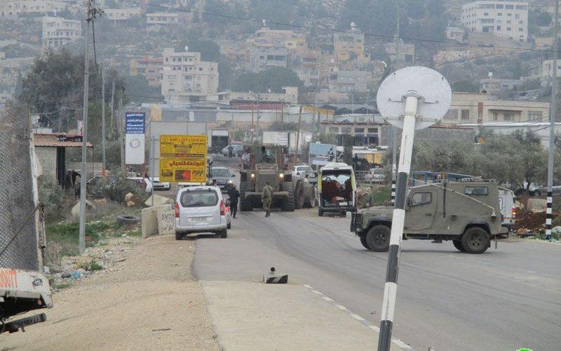 إغلاق مدخل بلدة بيتا الغربي محافظة نابلس