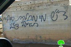 خط شعارات تحريضية على جدران المنازل في قرية النبي صالح محافظة رام الله