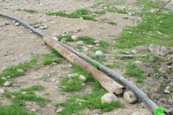 تدمير ومصادرة خطوط مائية ناقلة في منطقة الساكوت محافظة طوباس