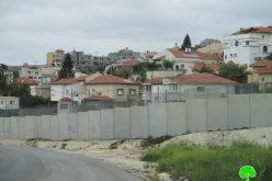 الاحتلال الاسرائيلي يجري تغيرات جديدة في بنية الجدار العنصري حول قرية عزون عتمة