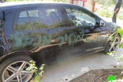خط شعارات تحريضية على جدران عدد من المنازل وإعطاب إطارات سيارات في قرية فرعتا / محافظة قلقيلية