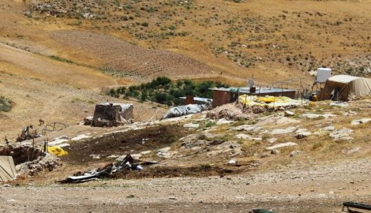 Israeli Occupation Forces demolish residential and agricultural structures in the Masafer Yatta village of Al-Halawah
