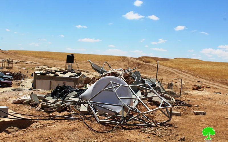 الاحتلال يهدم منشآت سكنية وزراعية في قرية المركز بمسافر يطا محافظة الخليل