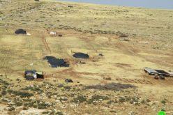 إجبار خمسة عائلات من خربة حمصة الفوقا على النزوح بحجة التدريبات العسكرية  محافظة طوباس