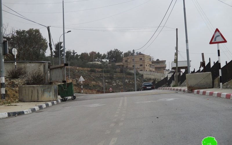 The Israeli Occupation Forces seal off the entrance of Sinjil village