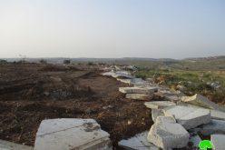 تجريف أراضي وهدم عدد من الغرف الزراعية والجدران الاستنادية في قرية شقبا محافظة رام الله