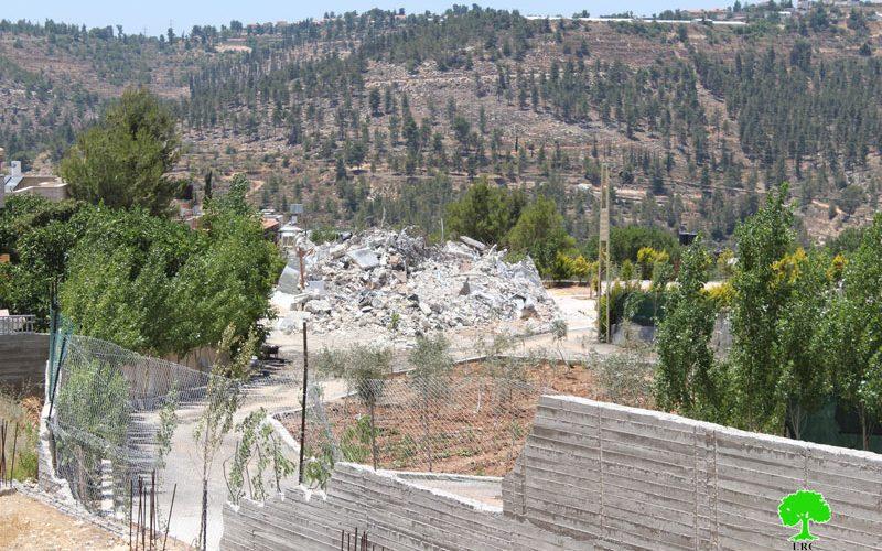 الاحتلال يهدم 4 مساكن في قرية الولجة بمحافظة بيت لحم