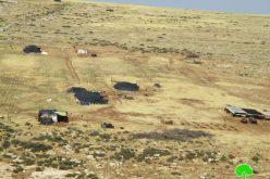إخطار عسكري بإخلاء خمسة عائلات في منطقة حمصة الفوقا بحجة التدريبات العسكريةمحافظة طوباس