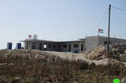 إخطار مدرسة التحدي 9 بوقف البناء في خربة إمريحة محافظة جنين