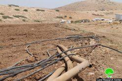 تدمير خطوط مائية ناقلة لشق طرق عسكرية إسرائيلية في منطقة سهل البقيعة / محافظة طوباس