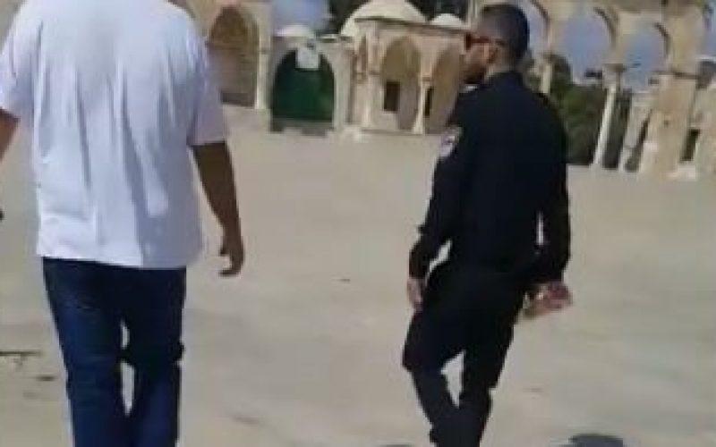 في سابقة استفزازية وخطيرة,ضابط من شرطة الاحتلال يدخل إلى المسجد الأقصى حاملاً زجاجة مشروب كحولي احتفالا ًبمناسبة عيد رأس السنة العبرية