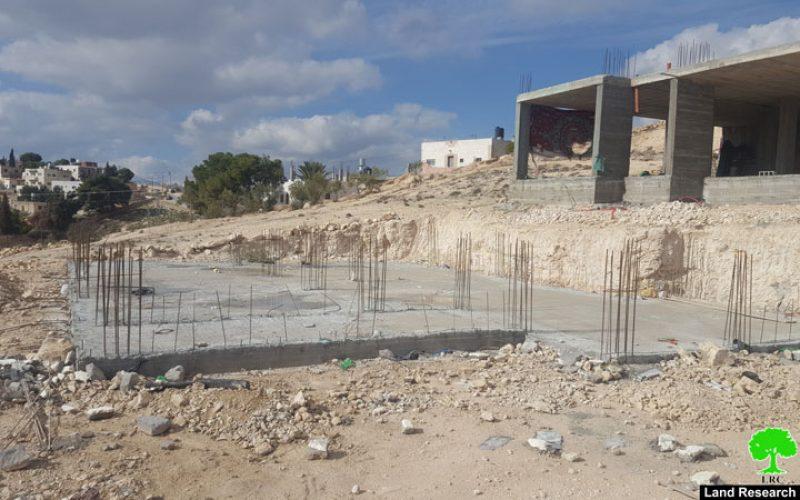 إخطار بوقف العمل لـ 3 مساكن في قرية زعترة / محافظة بيت لحم
