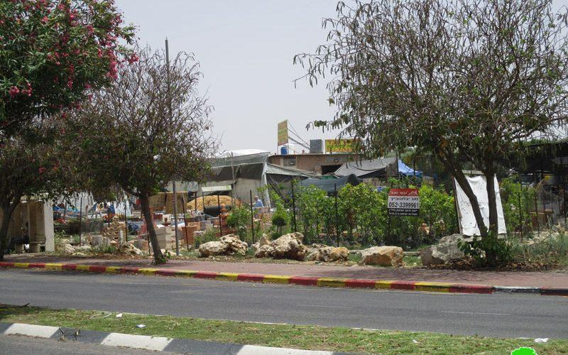 The Israeli occupation forces serve a demolishing order on a plants nursery in An-Nabi Elyas village / Qalqilya governorate