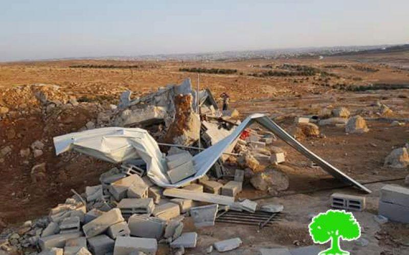 هدم منزل مواطن في قرية قواويس شرق يطا / محافظة الخليل