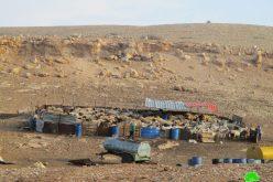 الاحتلال يصادر خيم وبركسات في خربة الحديدية / طوباس