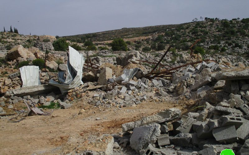 Demolition of an agricultural Barracks in Kafr Malik town / Ramallah governorate