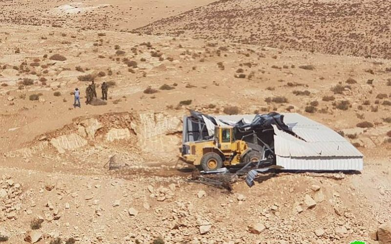 Demolition of  an agricultural facility in At-Tuba- east Yutta- Hebron governorate