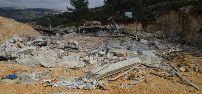 Demolition of an under-construction home in Jibiya north Ramallah
