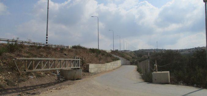 إقامة بوابة حديدية جديدة على الطريق الرابط بين قريتي جيوس والنبي الياس شرق قلقيلية