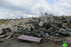 The Israeli occupation demolish structures in An-Nabi Elyas village / Qalqilya