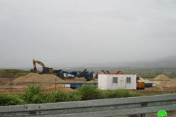 An Israeli contracting company establishes a stone crusher on Palestinian lands of As-Sakut