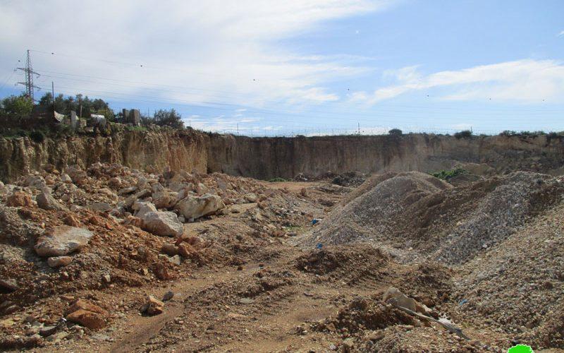 The occupation authorities halt rehabilitation work on an agricultural land in Qalqilya
