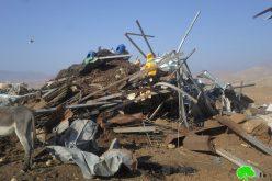 هدم عدداً من المساكن والبركسات الزراعية في الأغوار الشمالية / محافظة طوباس