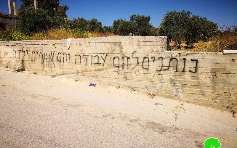 """""""Price tag"""" Settlers Sabotage Palestinian Properties in Sinjil Village / Ramallah Governorate"""